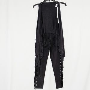 EUC Justice fringe leggings and sleeveless vest